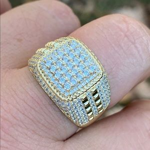 Real Solid Silver Gold Men's Ring